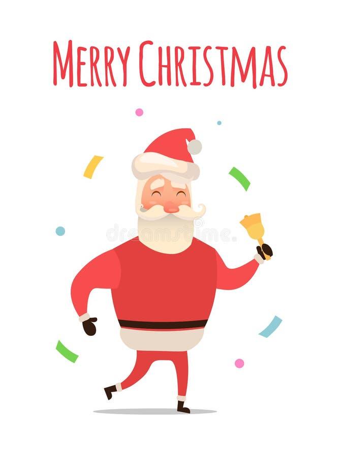 您的圣诞节和新年问候的动画片圣诞老人设计或动画 传染媒介被隔绝的例证愉快 向量例证