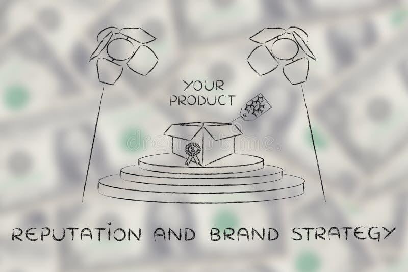 您的在阶段的产品在与文本名誉&增殖比的聚光灯下 向量例证