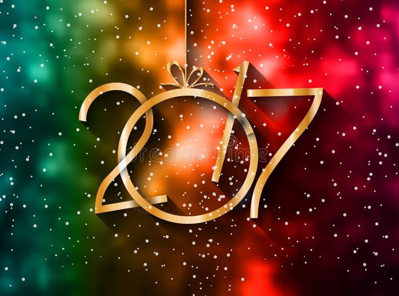 2017年您的季节性飞行物的新年快乐背景 皇族释放例证
