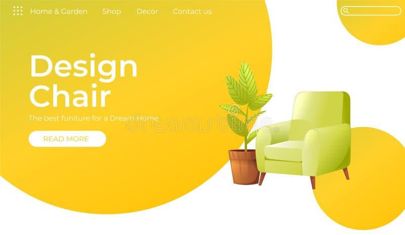 您的家庭室内设计横幅的经典椅子 着陆页网站conept 有一棵植物的舒适的扶手椅子a的 库存例证