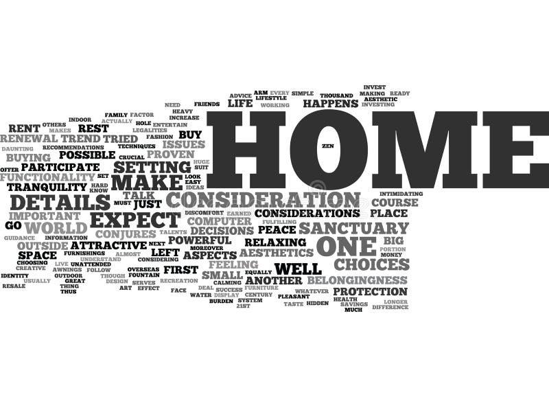 您的家是您的圣所文本背景词云彩概念 向量例证