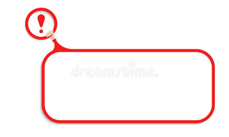 您的文本和惊叹号的一个红色语篇框架图 皇族释放例证
