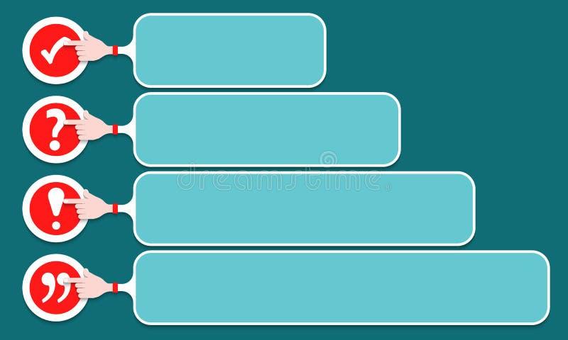 您的文本宽度复选框,惊叹号的四个语篇框架图 向量例证