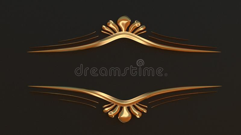您的文本的典雅的金框架 经典样式3D回报 向量例证