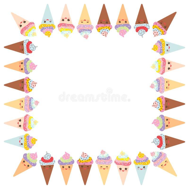 您的文本的卡片设计,与方形的框架的横幅模板, Kawaii滑稽的冰淇凌奶蛋烘饼锥体、枪口有桃红色面颊的和闪光 皇族释放例证