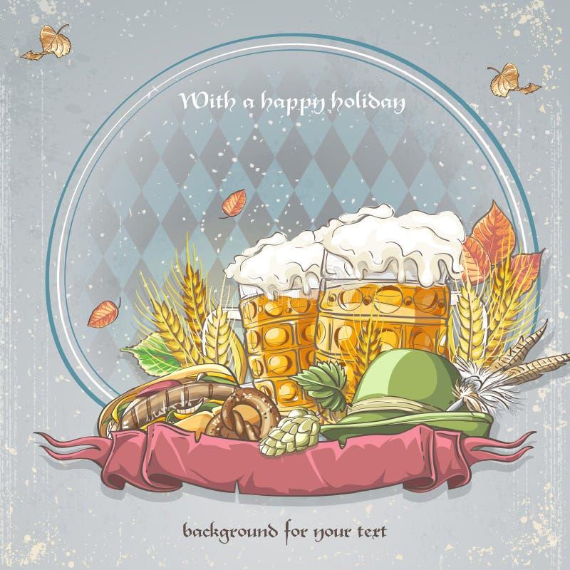 您的文本的图象欢乐慕尼黑啤酒节背景与杯啤酒、百吉卷、盖帽、蛇麻草和秋叶 皇族释放例证