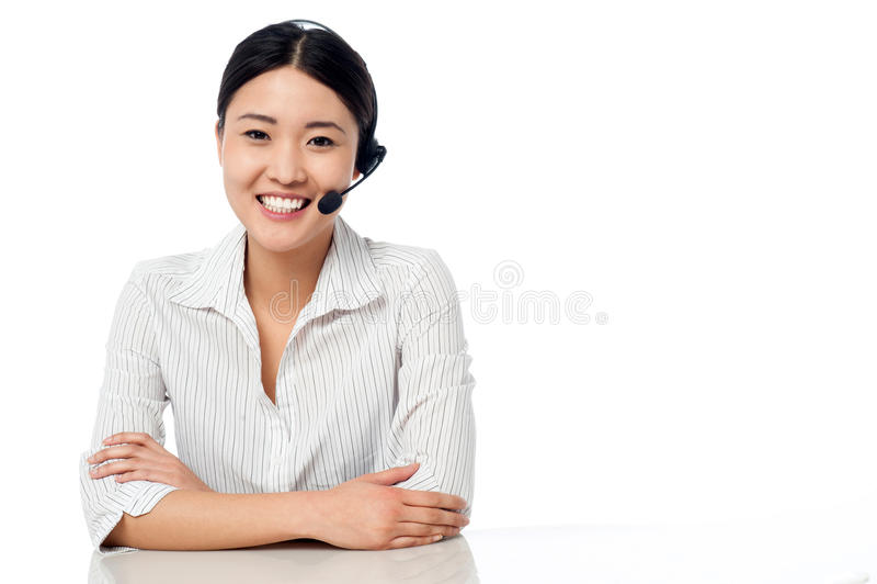 您的服务的年轻询问台执行委员 库存图片