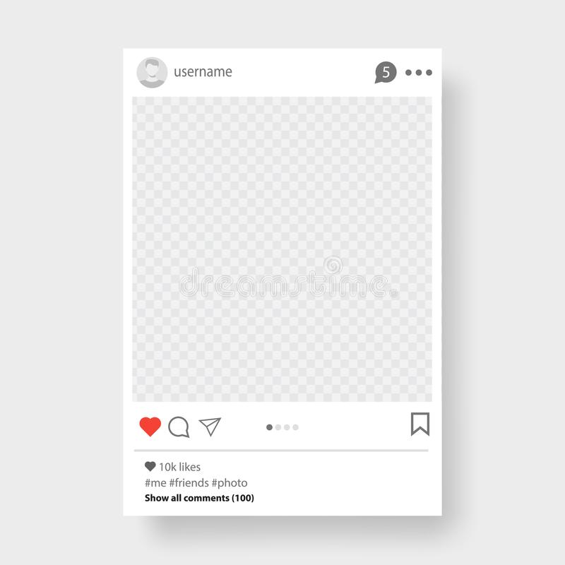 您的照片的社会网络岗位框架 灰色背景 也corel凹道例证向量 皇族释放例证