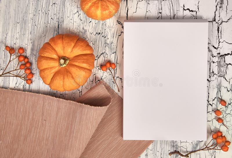 您的艺术品的纸与秋天装饰的大模型或文本 免版税库存照片