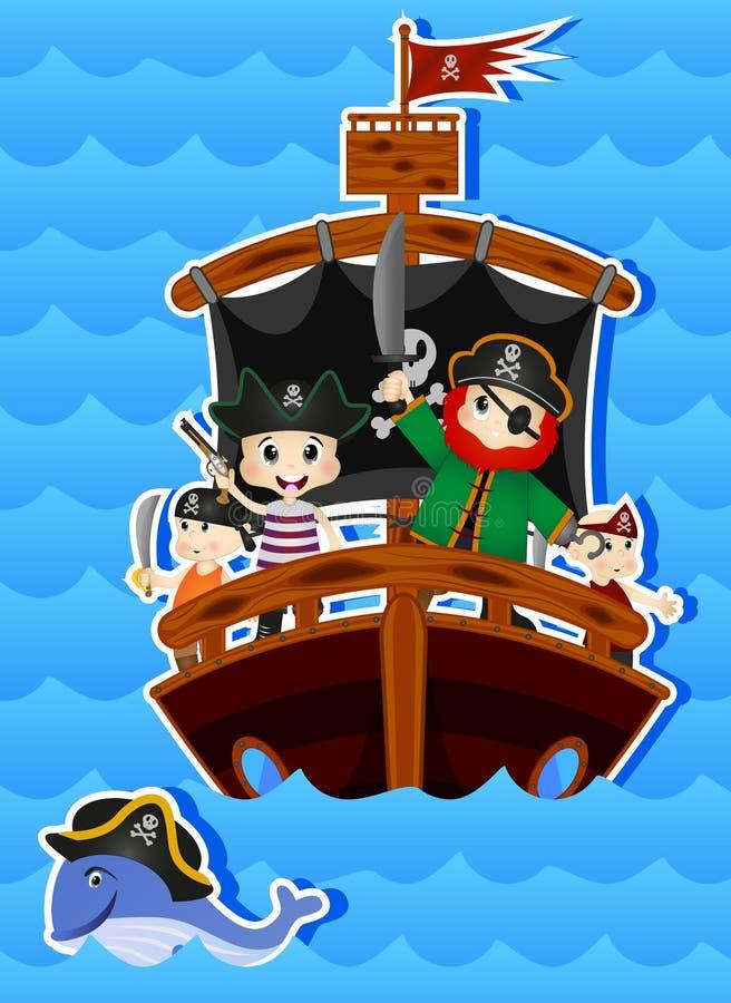 您的设计传染媒介的海盗动画片 向量例证
