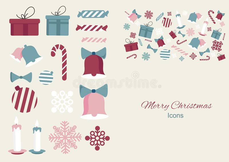 您的设计的圣诞快乐五颜六色的元素象 r 向量例证