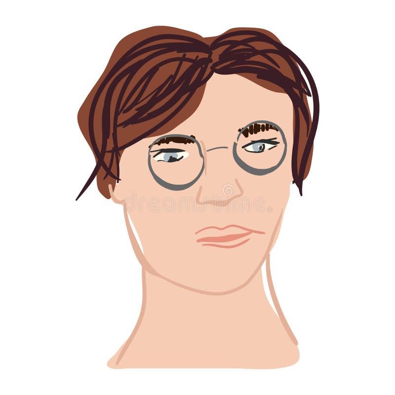 您的设计的女孩的面孔现代手拉的例证 免版税库存图片