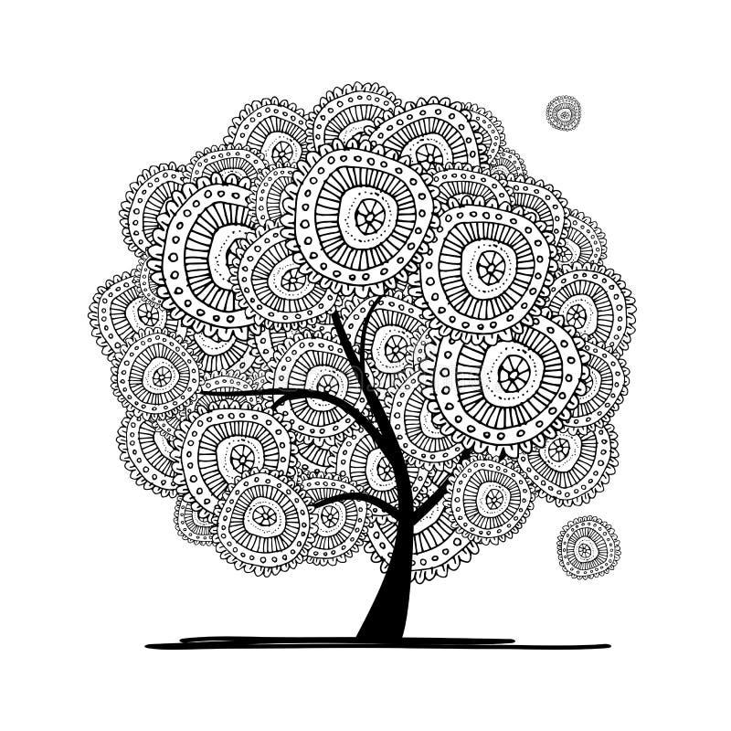 您的设计的抽象花卉树 向量例证