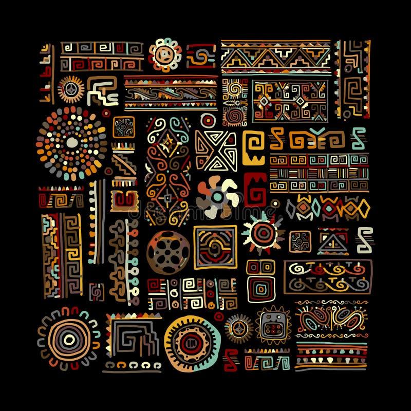 您的设计的种族手工制造装饰品 库存例证