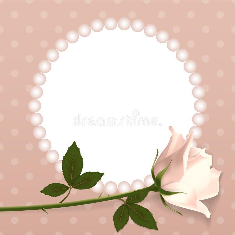 您的设计的空白 在圆点背景和与珍珠的一个框架上升了 现实样式 也corel凹道例证向量 皇族释放例证