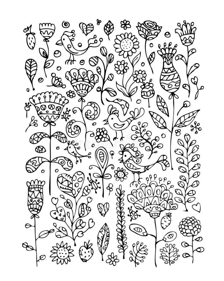您的设计的花卉样式剪影 向量例证