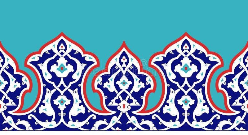 您的设计的花卉边界 传统土耳其ï ¿ ½无背长椅无缝的装饰品 伊兹尼克 向量例证