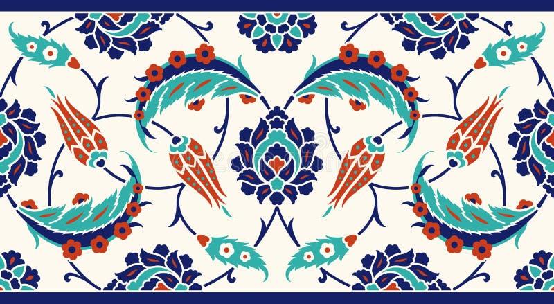 您的设计的花卉边界 传统土耳其ï ¿ ½无背长椅无缝的装饰品 伊兹尼克 库存例证