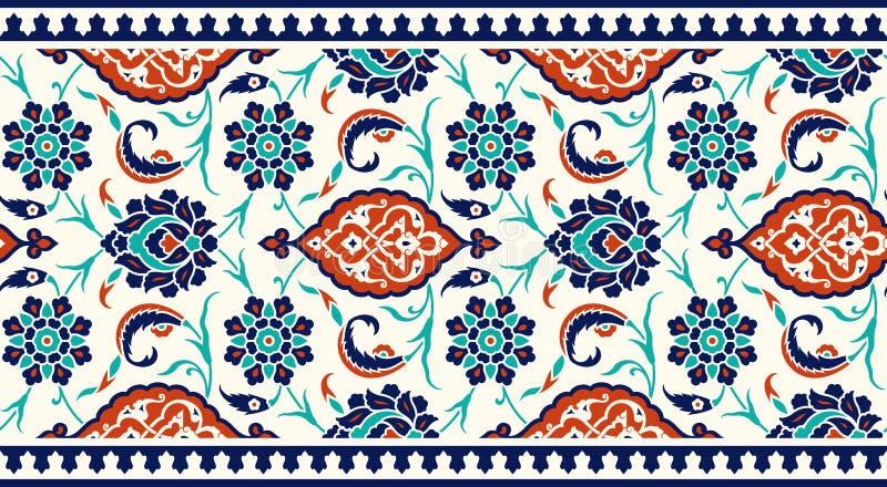 您的设计的花卉边界 传统土耳其ï ¿ ½无背长椅无缝的装饰品 伊兹尼克 皇族释放例证