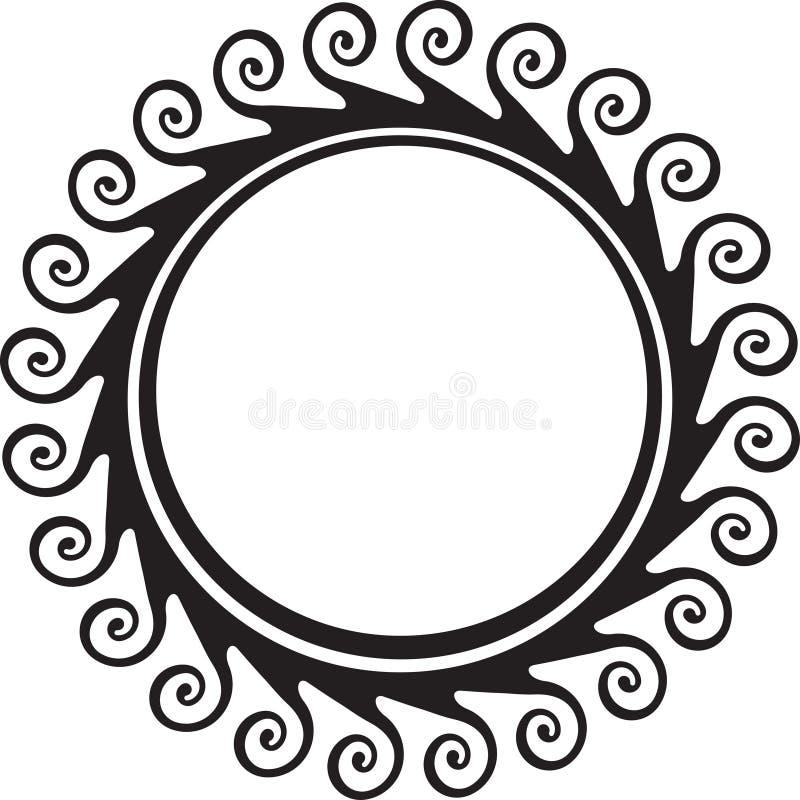 您的设计的装饰圆的框架与漩涡 库存例证