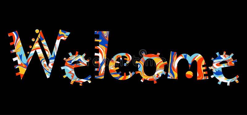 您的设计的词欢迎 与五颜六色的fu的传染媒介横幅 向量例证