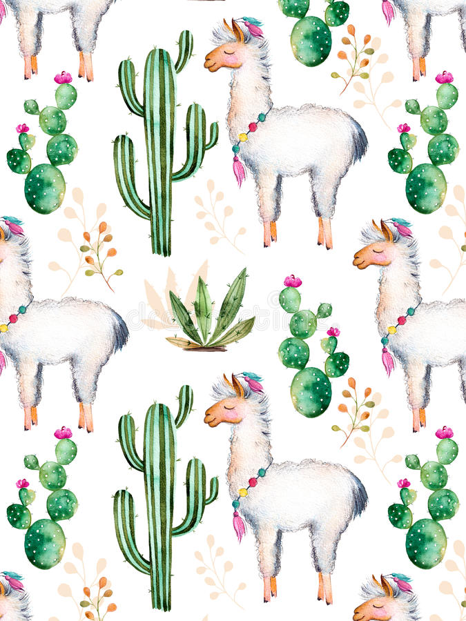 您的设计的水彩元素与仙人掌植物、花和喇嘛 向量例证