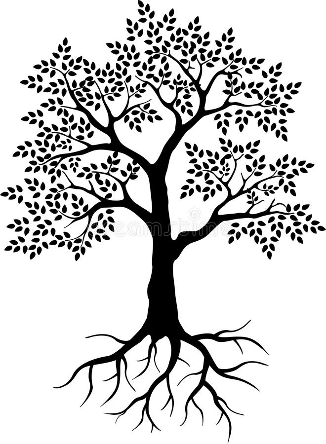 您的设计的黑树剪影 向量例证