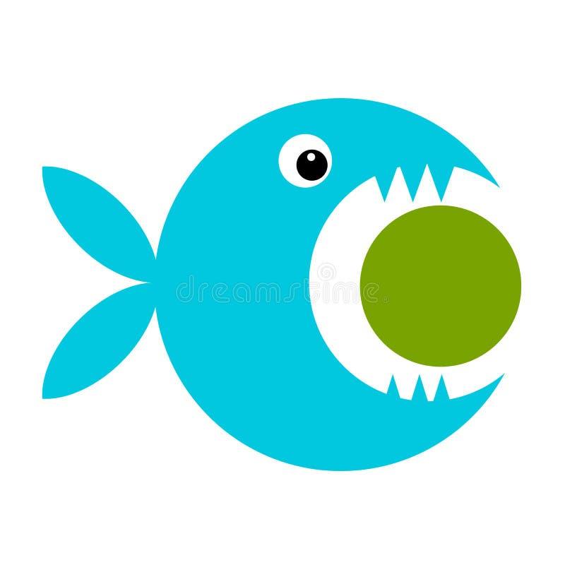您的设计的滑稽的鱼动画片 向量例证