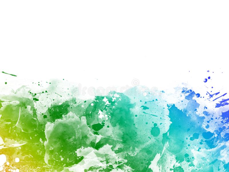 您的设计贺卡的抽象鲜绿色,蓝色,黄色水彩背景和邀请 库存例证