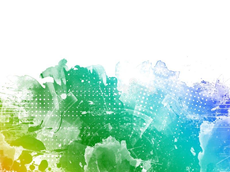 您的设计贺卡的抽象鲜绿色,蓝色,黄色水彩背景和邀请 向量例证