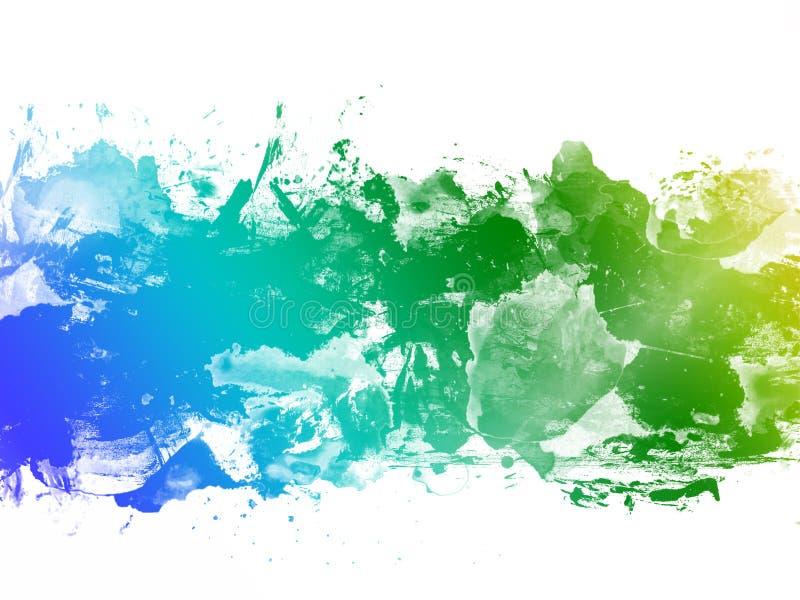 您的设计贺卡的抽象鲜绿色,蓝色,黄色水彩背景和邀请 皇族释放例证