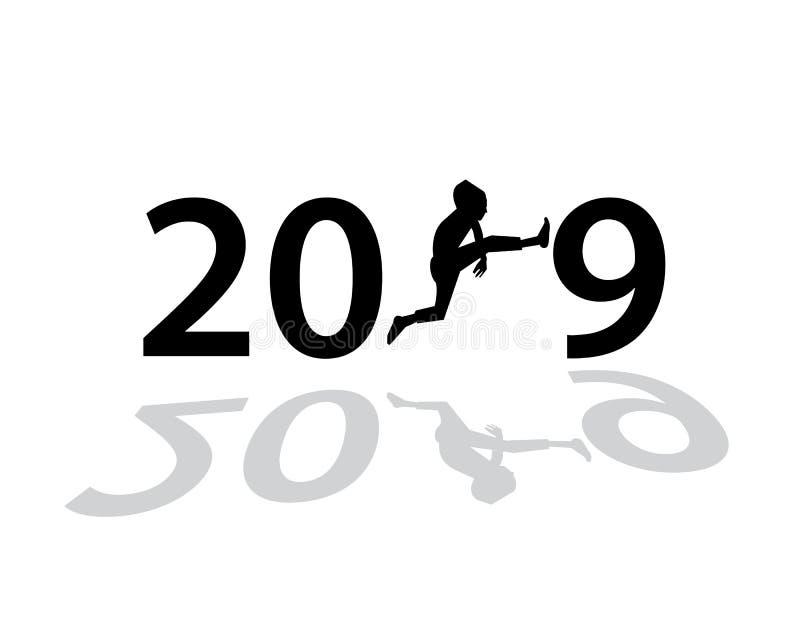 2019您的贺卡的新年快乐创造性的设计,飞行物,邀请,海报,小册子,横幅,日历 传染媒介illu 向量例证