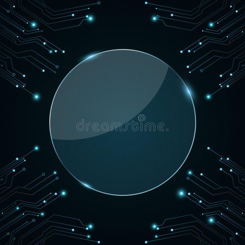 您的项目的玻璃圆的横幅 10mp董事会照相机被采取的电路计算机 光亮连接器是蓝色的 科学幻想小说技术 向量 库存例证