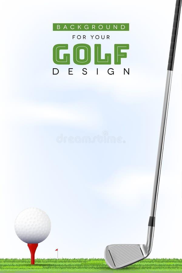 您的高尔夫球设计的背景与在发球区域的球 皇族释放例证