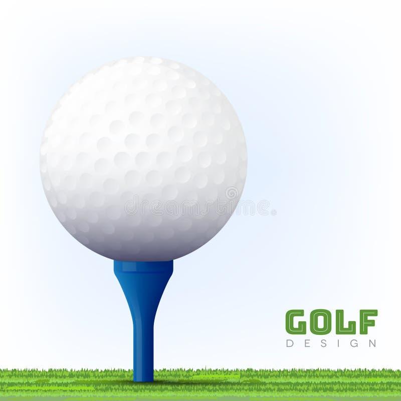 您的高尔夫球设计的背景与在蓝色发球区域的球 库存例证