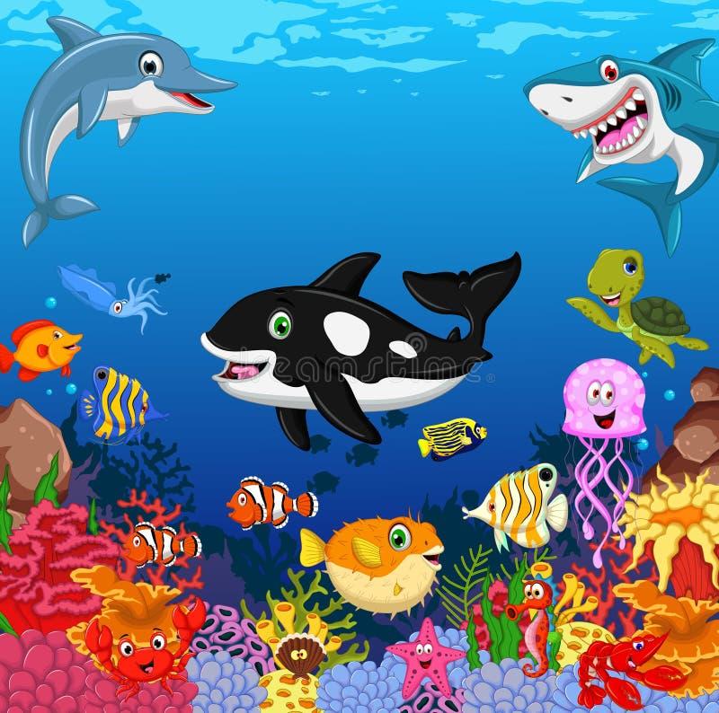 您的滑稽的动画片海洋生活设计 皇族释放例证