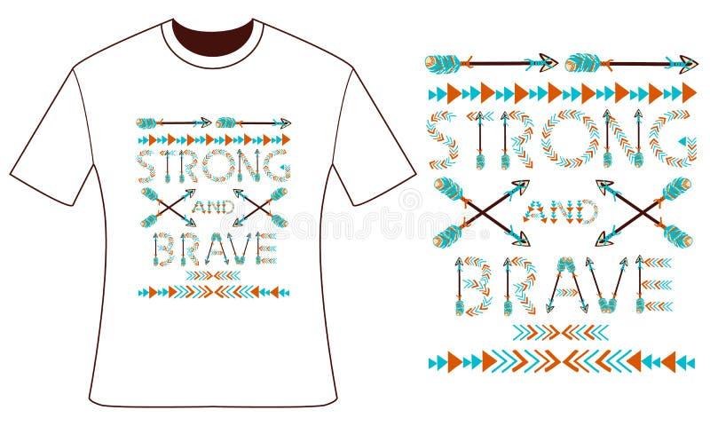 您的T恤杉的设计 羽毛和箭头 样式boho 皇族释放例证