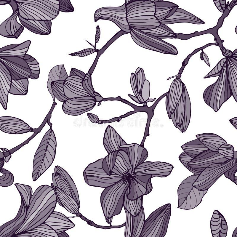 您背景设计开花的木兰 与开花的花的手拉的单色无缝的样式 传染媒介墙纸 皇族释放例证