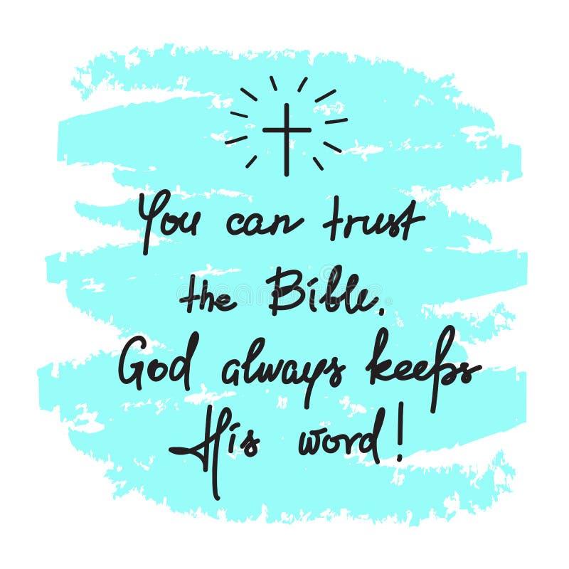 您能信任圣经,上帝总是履行他的诺言-诱导行情字法,宗教海报 库存例证