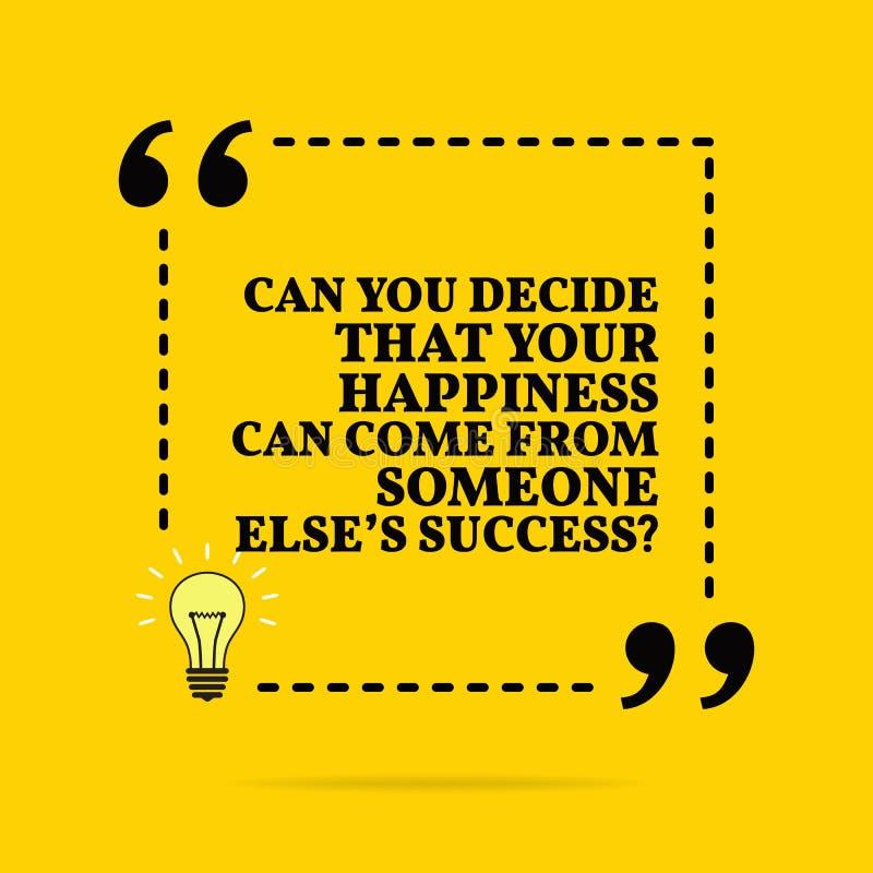 E 您能否决定您的幸福可能来自别人的成功?传染媒介简单设计 向量例证
