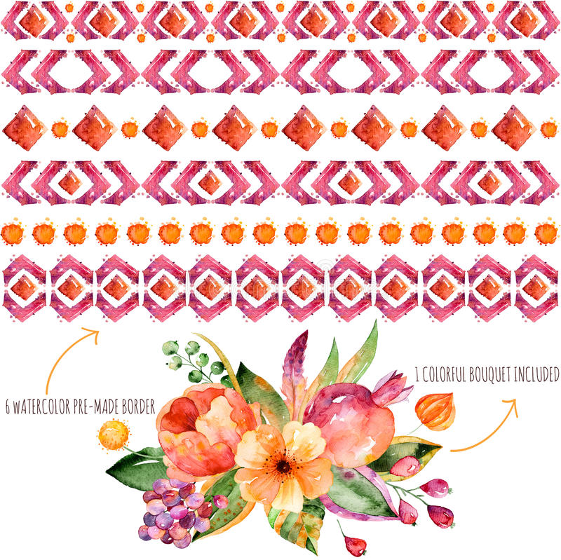 您自己的构成的6个水彩边界+与秋叶、花、石榴、莓果和f的1五颜六色的秋天花束 皇族释放例证