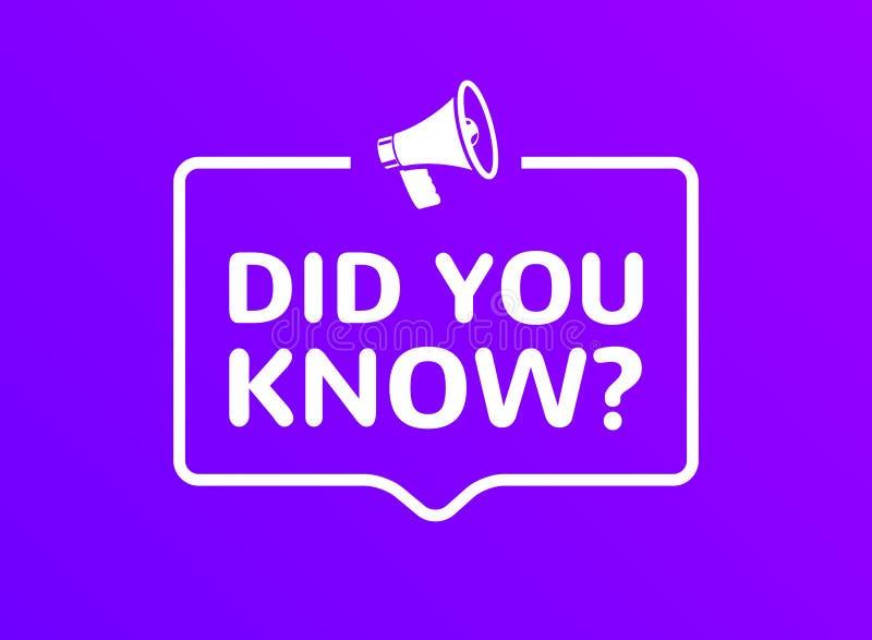 您认识在讲话泡影消息的文本 问横幅或智慧要求标志信息 向量例证