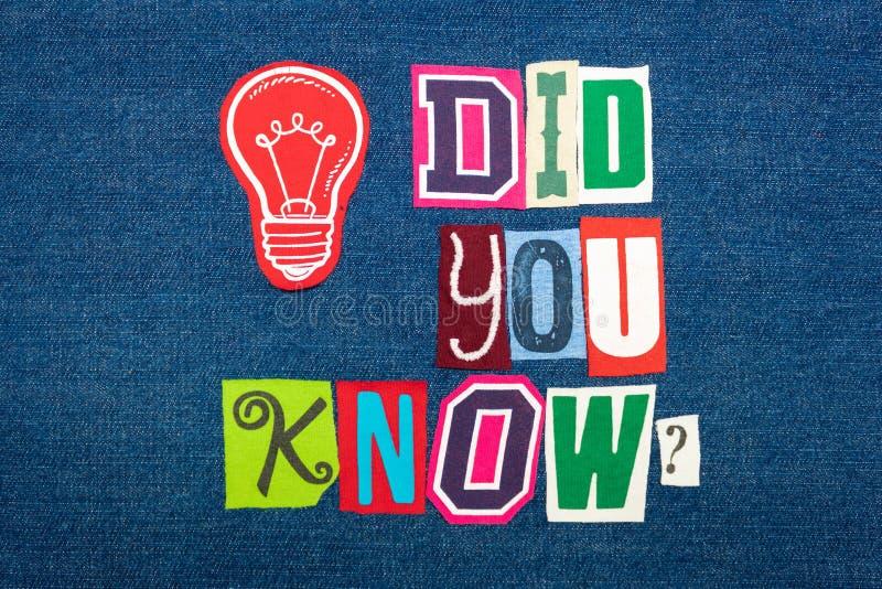 您认识文本词拼贴画、明亮地色的织品在蓝色牛仔布,问题和解答概念 免版税图库摄影