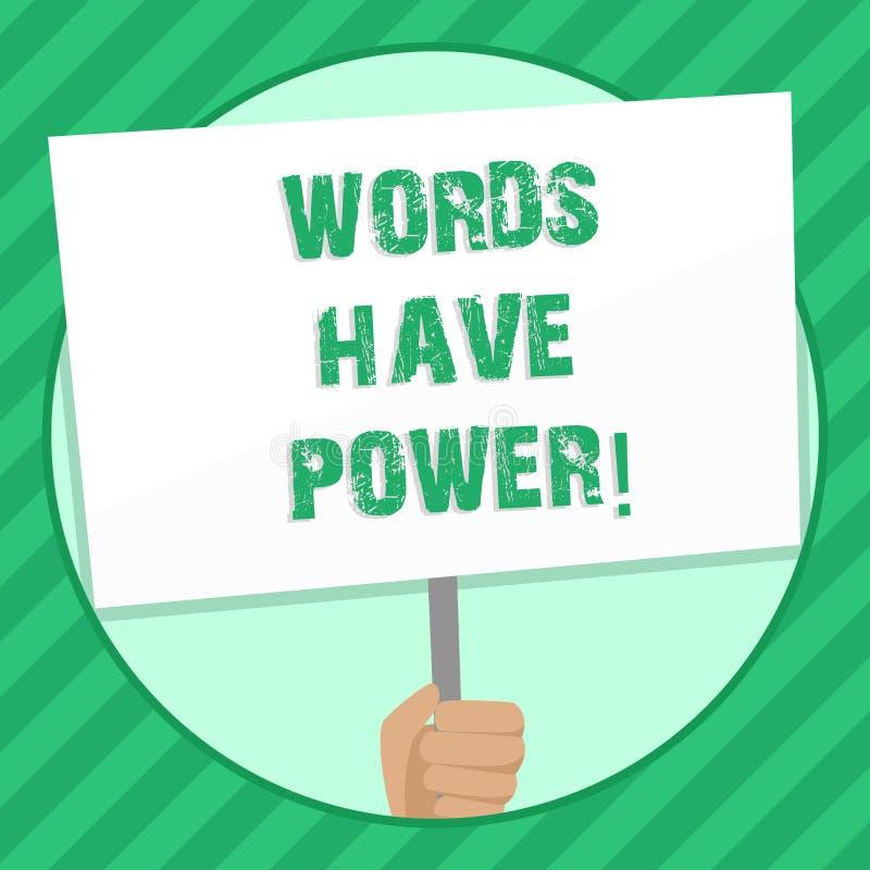 手写文本文字词有力量 意味您说的声明的概念有能力改变您的现实 皇族释放例证