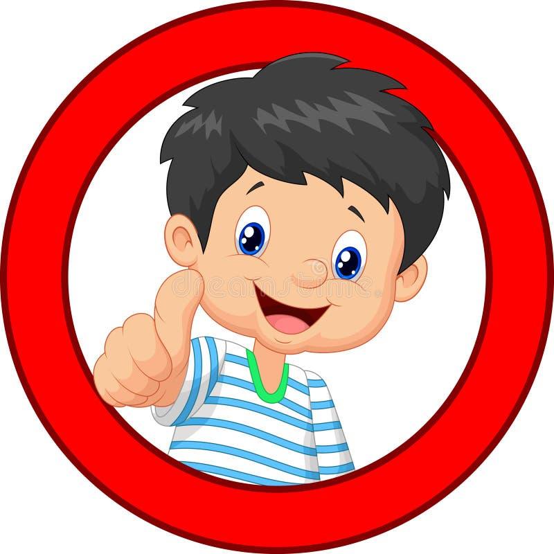 给您赞许的小男孩动画片 向量例证