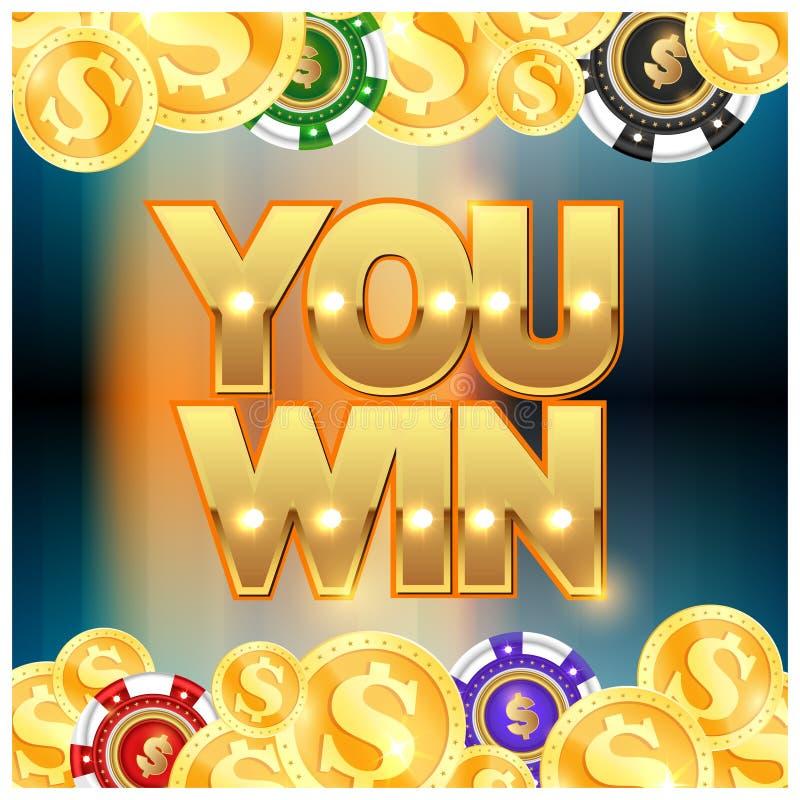 您赢得的金币和芯片 向量例证