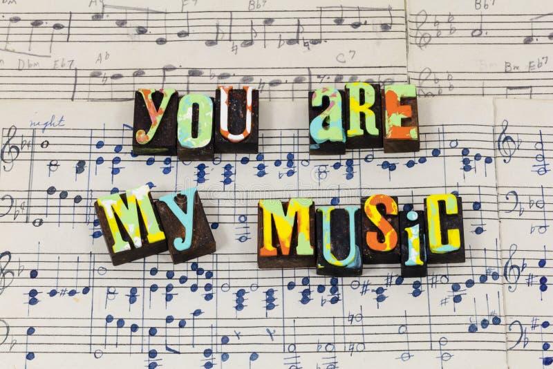 您重要的音乐享用舞蹈灵魂生活爱印刷术字体 库存照片
