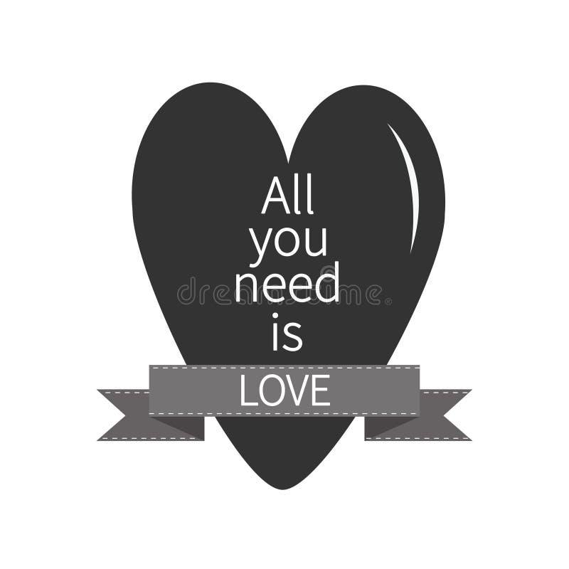 您需要的所有是与黑心脏和桃红色丝带的爱字法 印刷品,海报,贺卡 平的设计 库存例证