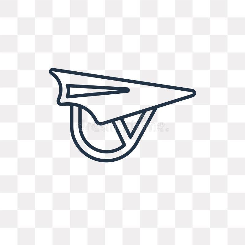 悬挂式滑翔机在透明背景隔绝的传染媒介象,线 库存例证