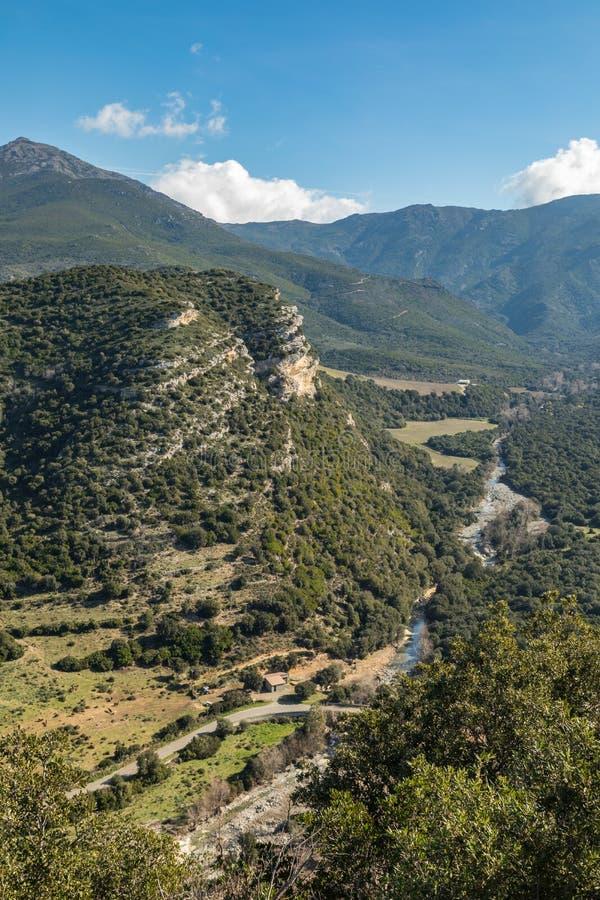 悬崖和河谷Patrimonio的在可西嘉岛 库存照片